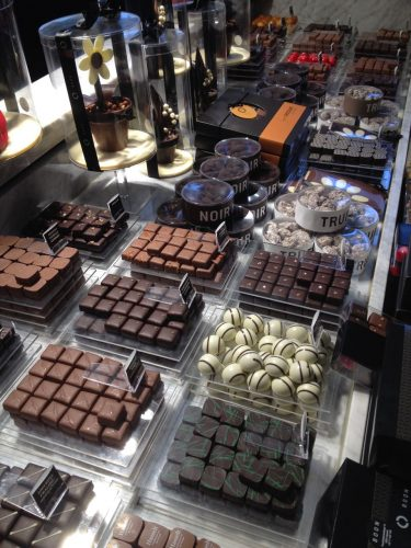 Display case full of chocolate pralines